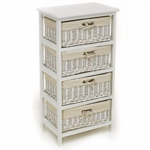 White 4 Wicker Basket Chest of Drawers Unit
